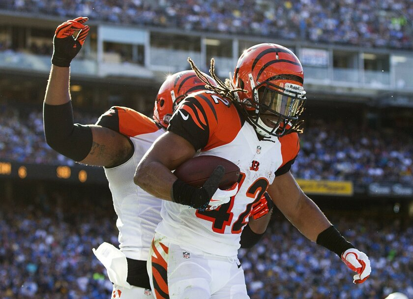 San Diego Chargers lose to the  Cincinnati Bengals  17-10 at Qualcomm Stadium. BenJarvus Green-Ellis is in for the games first touchdown, a 4 yard run in the second quarter as he celebrates.