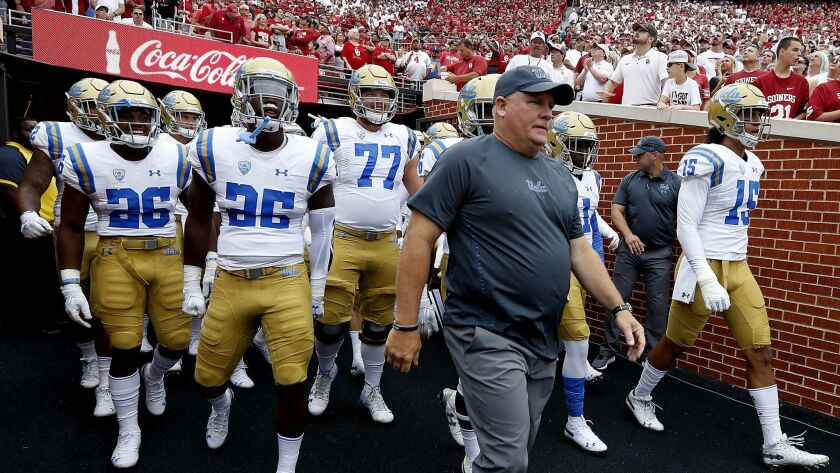 NIORMAN, OKLA.. - SEP. 8, 2018. UCLA head coach Chip Kelly leads his Bruin squad on the field at M