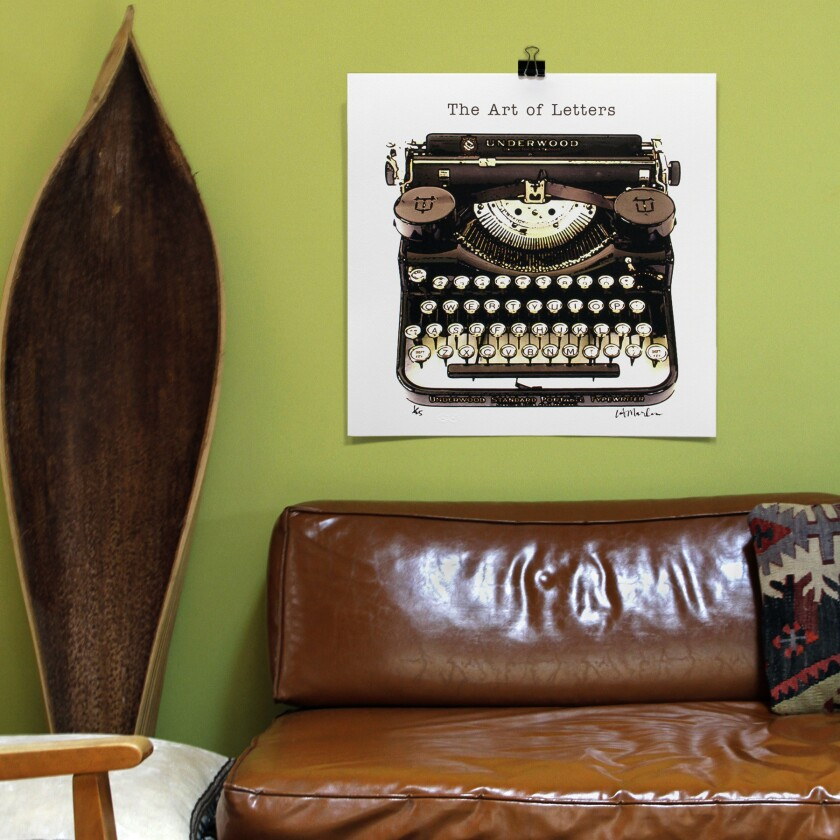 Gift pick No. 24: L.A. Marler typewriter pillows, prints, cards