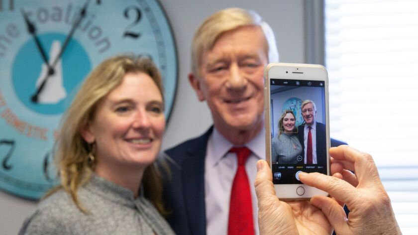 Republican candidate for United States President, Former Governor Bill Weld (R) poses for a photograph at the New Hampshire Coalition Against Domestic and Sexual Violence, in Concord, New Hampshire.