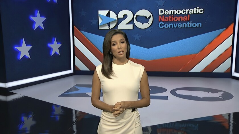 Actress Eva Longoria moderates the first night of the 2020 Democratic National Convention.