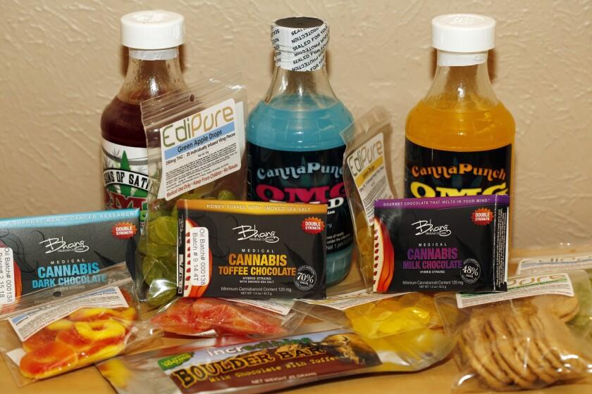 Edible marijuana products on display at a medical marijuana dispensary in Denver.