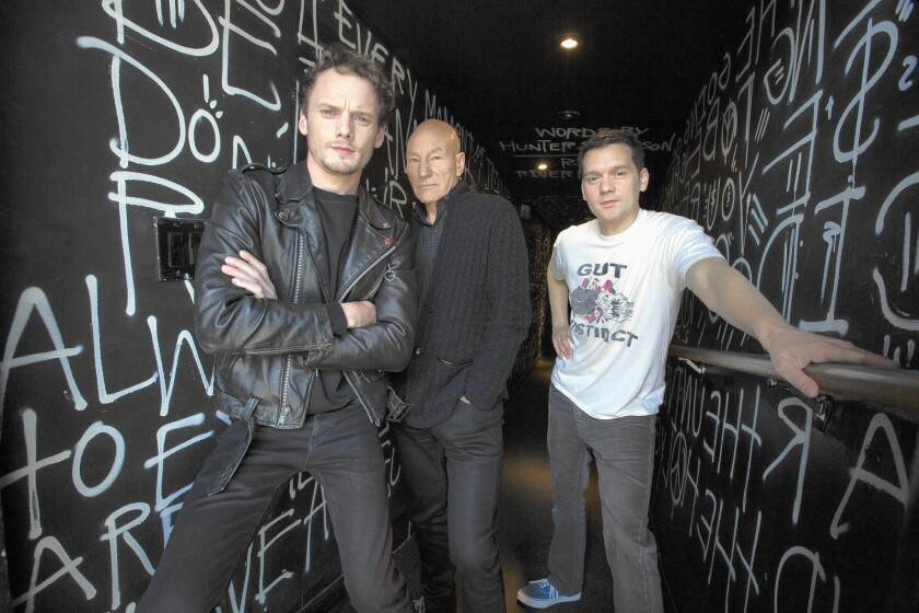"""Anton Yelchin, from left, and Patrick Stewart star in director Jeremy Saulnier's siege film """"Green Room."""" They are shown at the Viper Room in WeHo."""