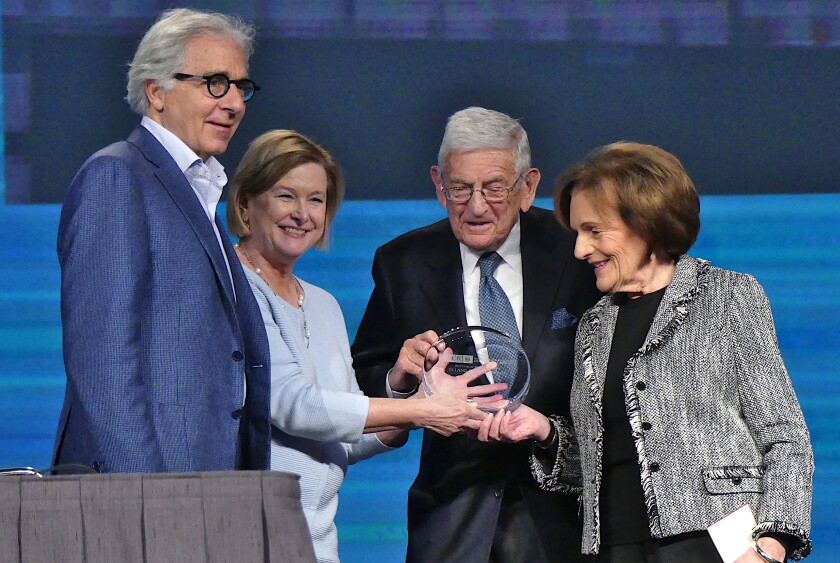 From left; Douglas Melton, Nancy Witty, Eli Broad and Edythe Broad. The Broads were honored for their public services at the 2019 International Society for Stem Cell Research meeting in Los Angeles.