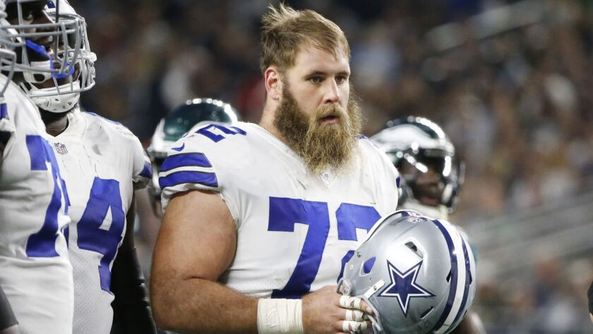 Dallas Cowboys center Travis Frederick during a timeout in a game last season.