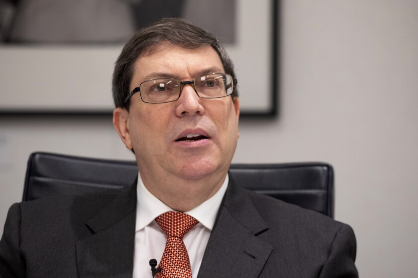 Cuban Foreign Minister Bruno Rodriguez Parrilla talks during an interview with The Associated Press, Tuesday, Oct. 1, 2019 in New York. The foreign minister says he believes improvements in relations with the United States are irreversible despite the Trump administration's hardening of the embargo on the island. (AP Photo/Mark Lennihan)