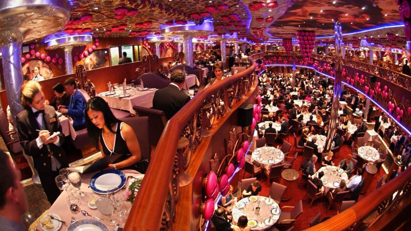 The Bacchus Restaurant is the main formal dining room aboard the Carnival Miracle. (Photo by Andy N