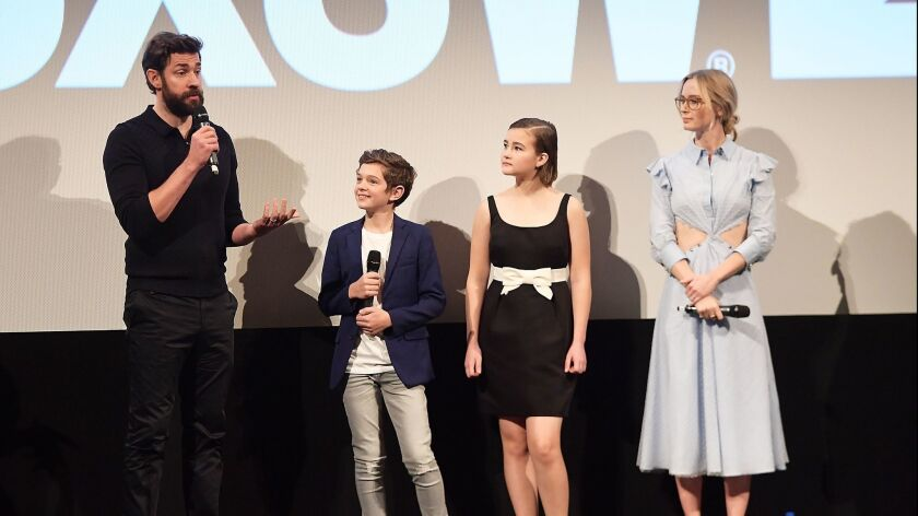 "From left, John Krasinski, Noah Jupe, Millicent Simmonds and Emily Blunt attend the premiere for ""A Quiet Place"" at South by Southwest on March 9, 2018, in Austin, Texas."