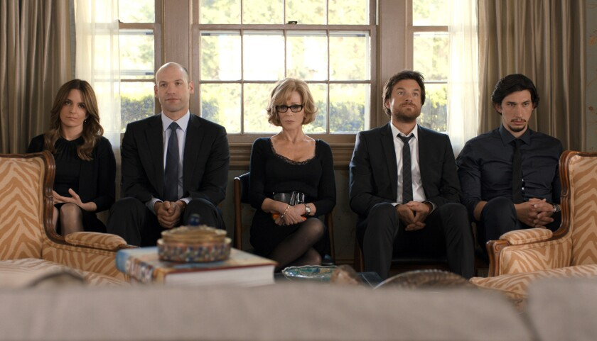 """The Altman family in mourning, as portrayed by Tina Fey, left, Corey Stoll, Jane Fonda, Jason Bateman and Adam Driver in """"This Is Where I Leave You."""""""