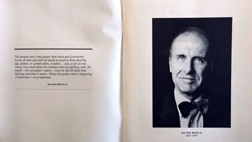 Los Angeles Times correspondent Joe Alex Morris Jr., shown here in a booklet of his articles, was the only American correspondent killed while covering Iran's 1979 Islamic revolution. A memorial lecture at Harvard University, his alma mater, is held each year in his honor.