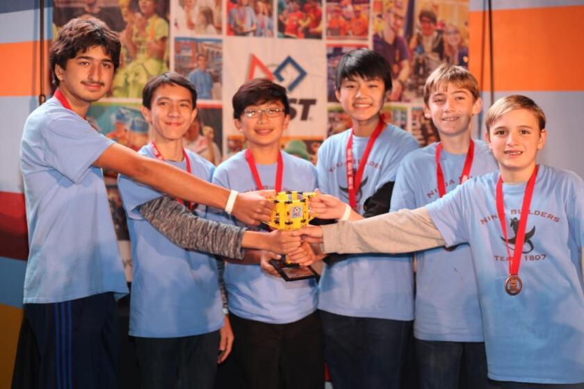 Ninja Builders (l-r): John Aste, Mason Holst, Woocheol Kim, Nathan Wu, Sean Cooney and Christopher Caliguiri.