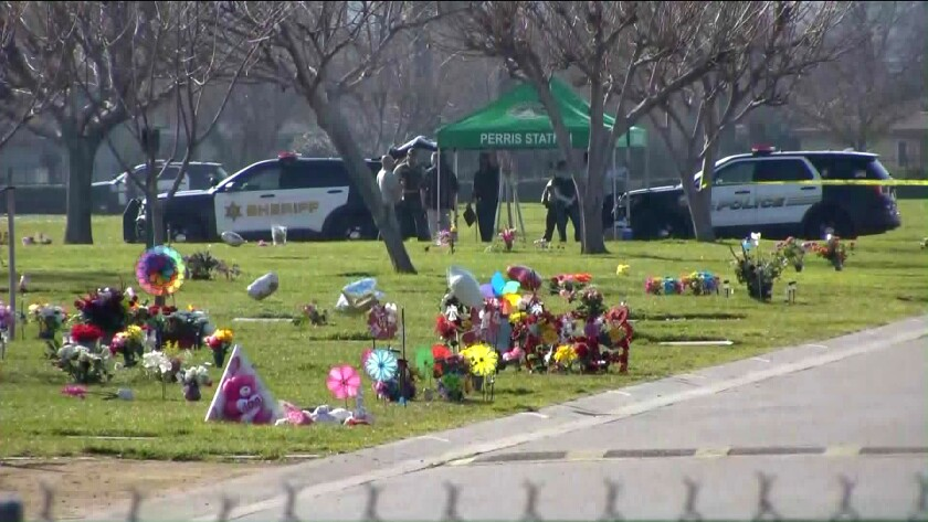 Three bodies were found Monday morning near a grave site at the Perris Valley Cemetery.