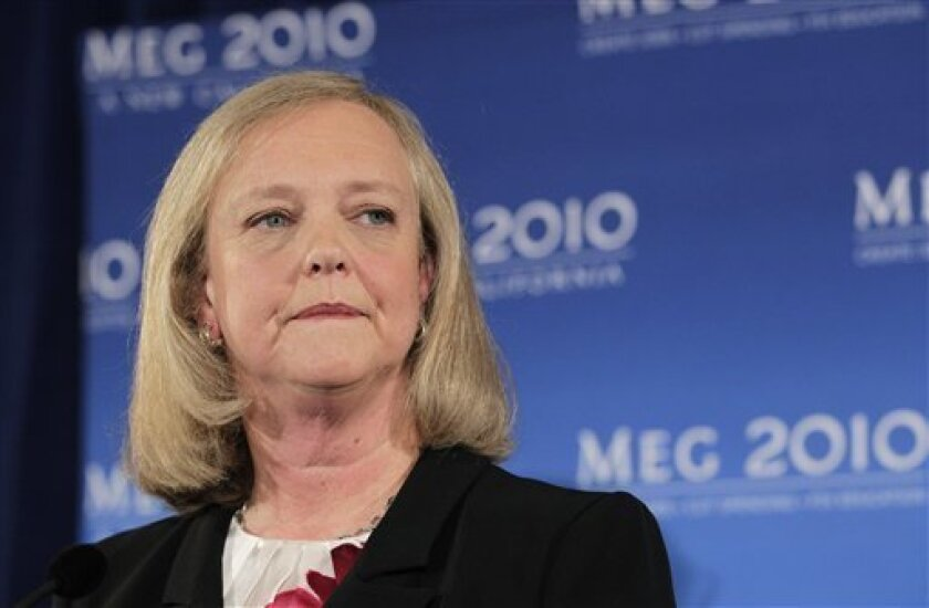 FILE - In this Sept. 30, 2010 file photo, California Republican gubernatorial candidate Meg Whitman listens to a question from reporters during a news conference in Santa Monica, Calif., (AP Photo/Jae C. Hong, File)