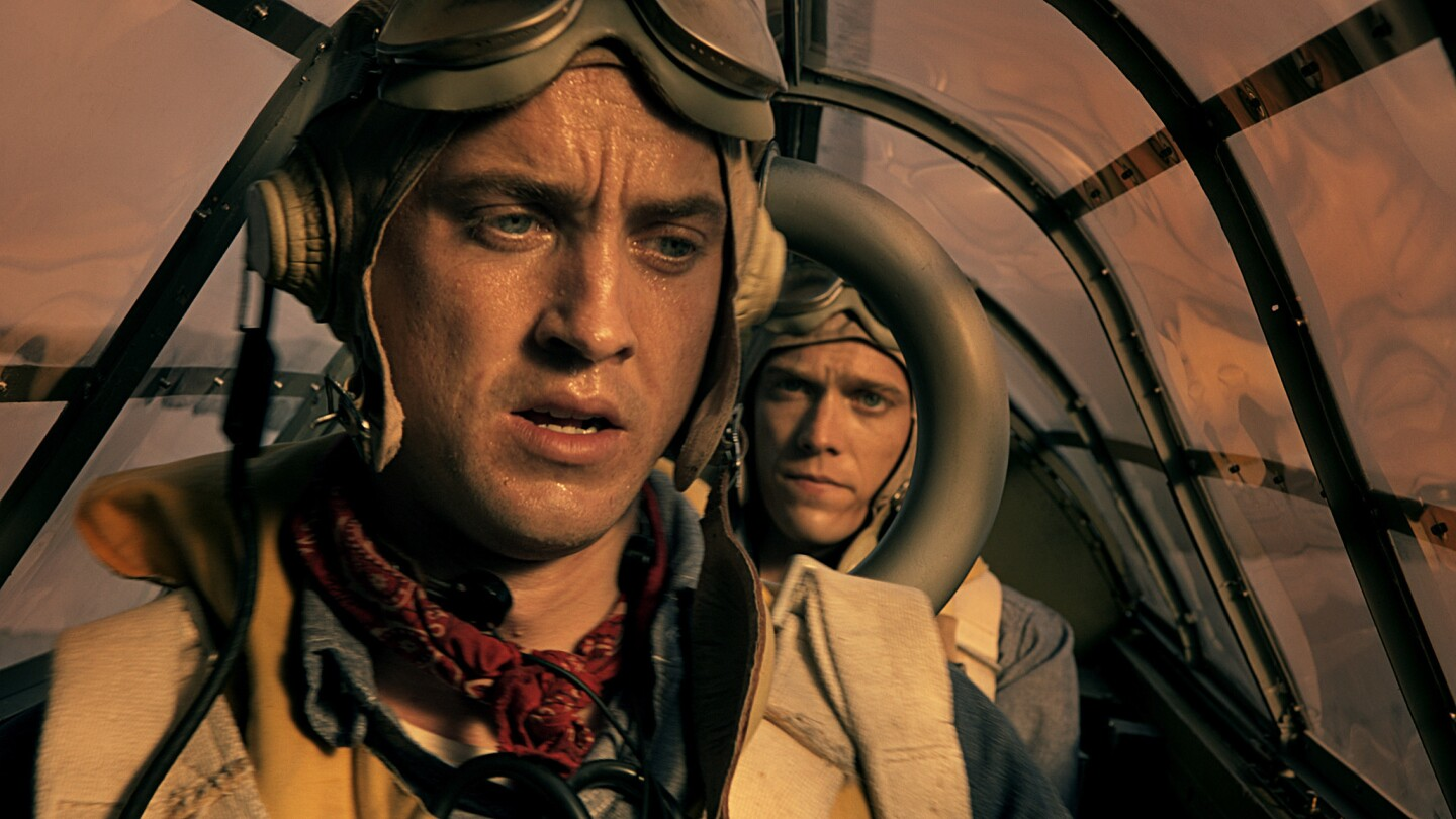 """Tom Felton as Tony Pastula and Jake Able as Gene Aldrich realize their plane is running out of fuel in """"Against the Sun."""""""