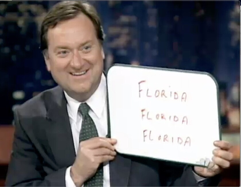 News anchor Tim Russert, with his famous whiteboard, during the 2000 election coverage on NBC.