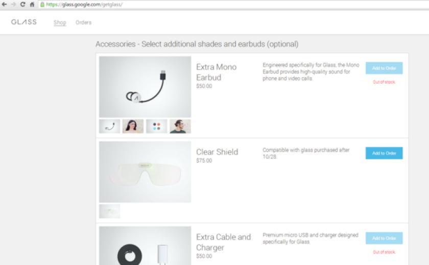 Google Glass' accessories store.