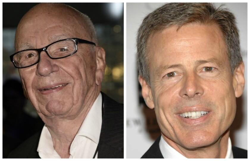 21st Century Fox CEO Rupert Murdoch, left, and Time Warner CEO Jeff Bewkes.