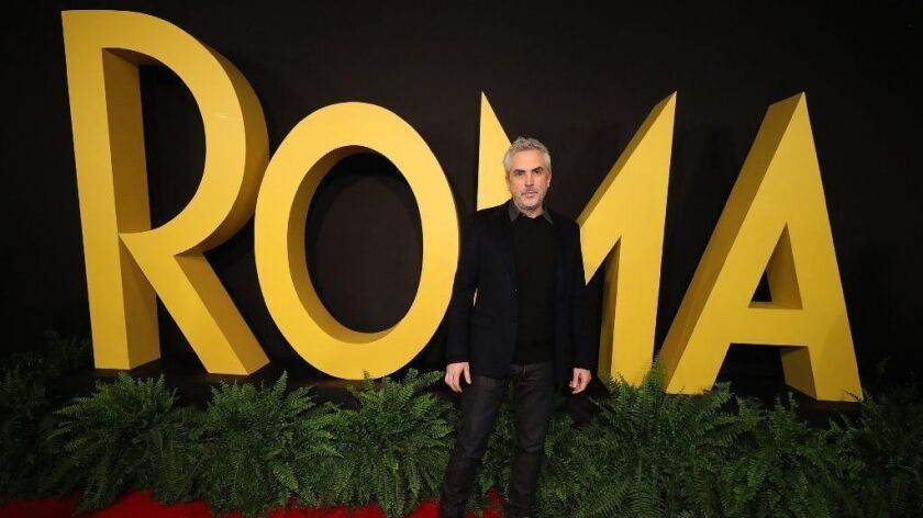 """Alfonso Cuarón during the premiere of the Netflix movie """"Roma"""" in Mexico City on Tuesday."""