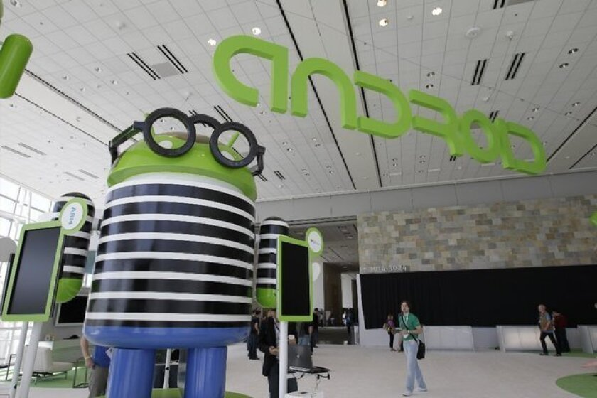 Google Android display at Google developers conference in 2012.