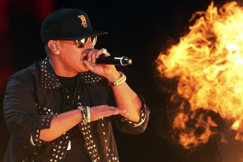 Daddy Yankee performs during the second night of the 54th edition of the Vina del Mar International Music Festival at Vina del Mar, Chile.