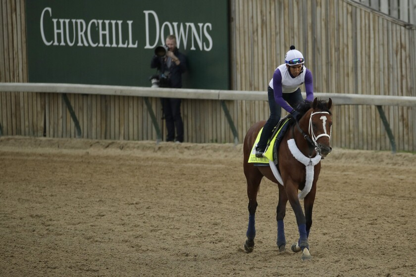 Kentucky Derby entrant Maximum Security is ridden during a workout Wednesday at Churchill Downs in Louisville, Ky.
