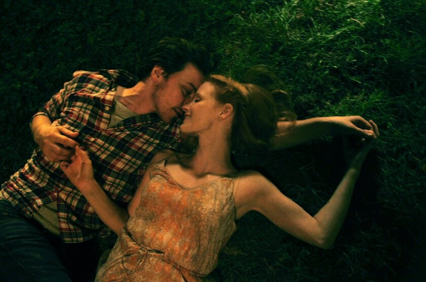 "This photo released by courtesy of The Weinstein Company shows James McAvoy, left, and Jessica Chastain in a scene from the film, in ""The Disappearance of Eleanor Rigby."" (AP Photo/The Weinstein Company, Sarah Shatz)"