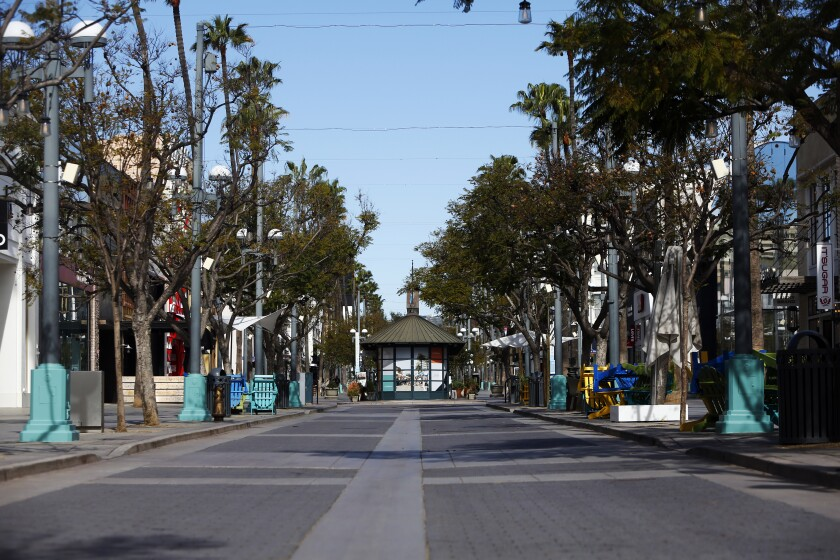 Third Street Promenade in Santa Monica is empty on March 18 amid the coronavirus crisis.