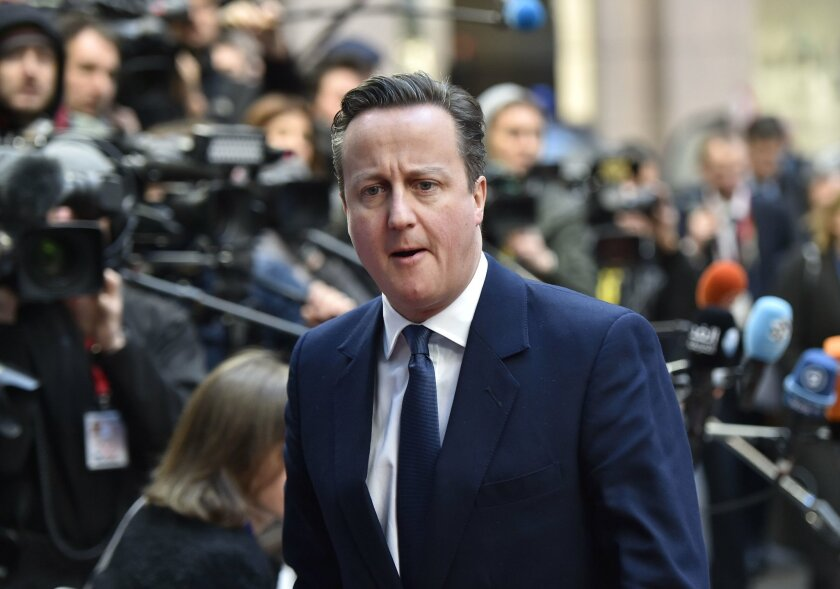 British Prime Minister David Cameron arrives for an EU summit at the EU Council building in Brussels on Friday, Feb. 19, 2016. Cameron faces tough new talks with European partners after through-the-night meetings failed to make much progress on his demands for a less intrusive European Union.  (AP