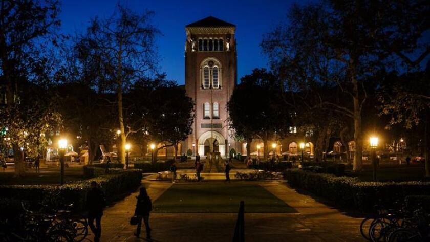 USC's campus at night.