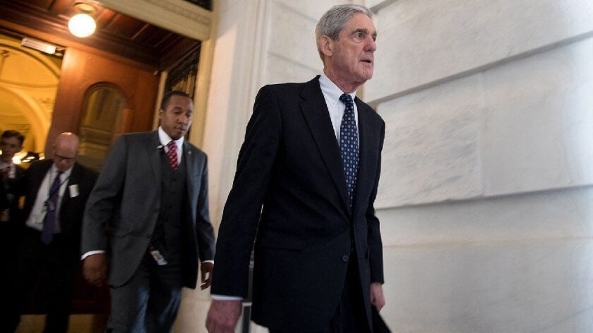 Justice Department Special Counsel Robert S. Mueller III, seen leaving Capitol Hill in 2017, submitted his report to the attorney general on Friday.