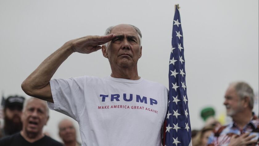 SAN DIEGO, CA, TUESDAY, MARCH 13, 2018 - Adrian Asencio, 73, from Redlands, salutes as the National