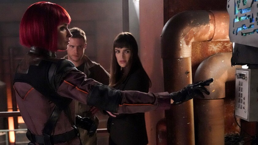 "Karolina Wydra, left, Iain de Caestecker and Elizabeth Henstridge in ""Marvel's Agents of S.H.I.E.L.D. "" on ABC."