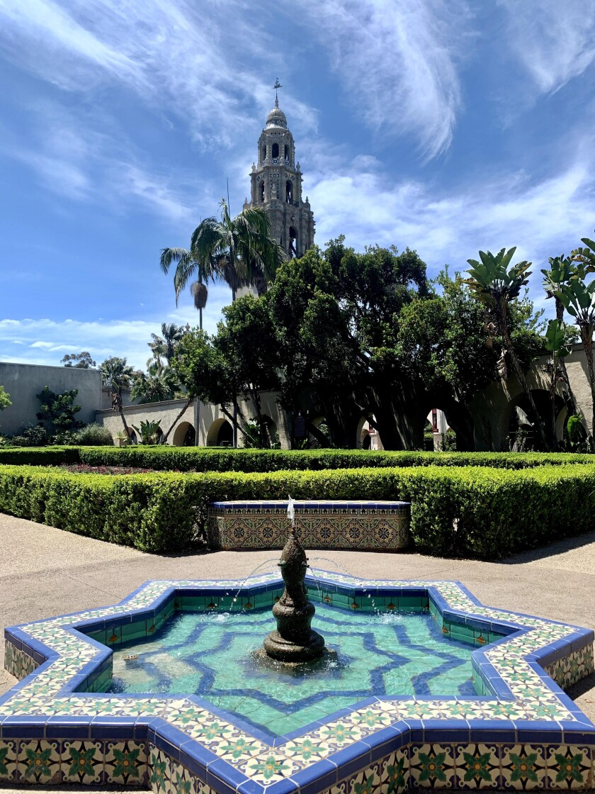 The formal Alcazar Garden, patterned after a castle garden in Spain, has colorful Moorish tiles and fountains.