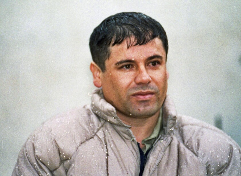 """In this 1993 photo, Joaquin """"Chapo"""" Guzman is shown to the media at a prison near Mexico City. He escaped from captivity in 2001."""