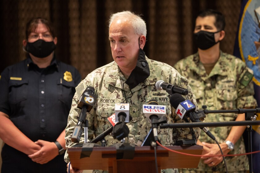 Rear Adm. Philip Sobeck speaks to the media during a press conference July 14th, 2020 in San Diego, California.
