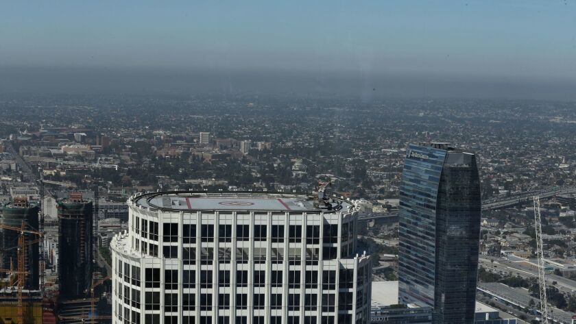 LOS ANGELES, CALIF. -- TUESDAY, JUNE 20, 2017: A view of of smog in downtown Los Angeles, Calif., o