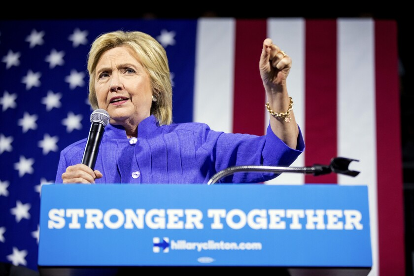 Democratic presidential candidate Hillary Clinton speaks at a rally the University of Cincinnati on Monday.