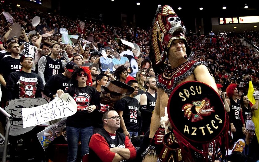 The SDSU Aztec Warrior shares the feelings of the entire student section in the final seconds of a home game against New Mexico on Wednesday. The Aztecs lost back to back games for the first time since February 2008.