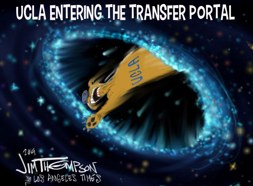 UCLA transfter portal cartoon for Oct. 19, 2019 edition.