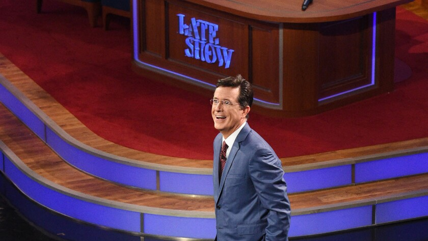 """The man of the hour offers a few words during the premiere of """"The Late Show With Stephen Colbert."""""""