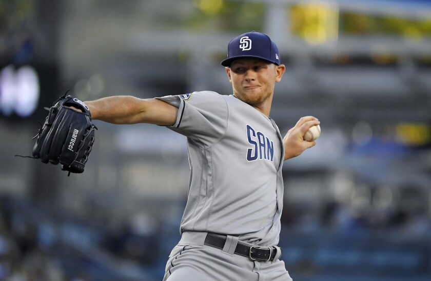 Padres starting pitcher Eric Lauer allowed the Dodgers two runs on three hits in six innings Friday night.