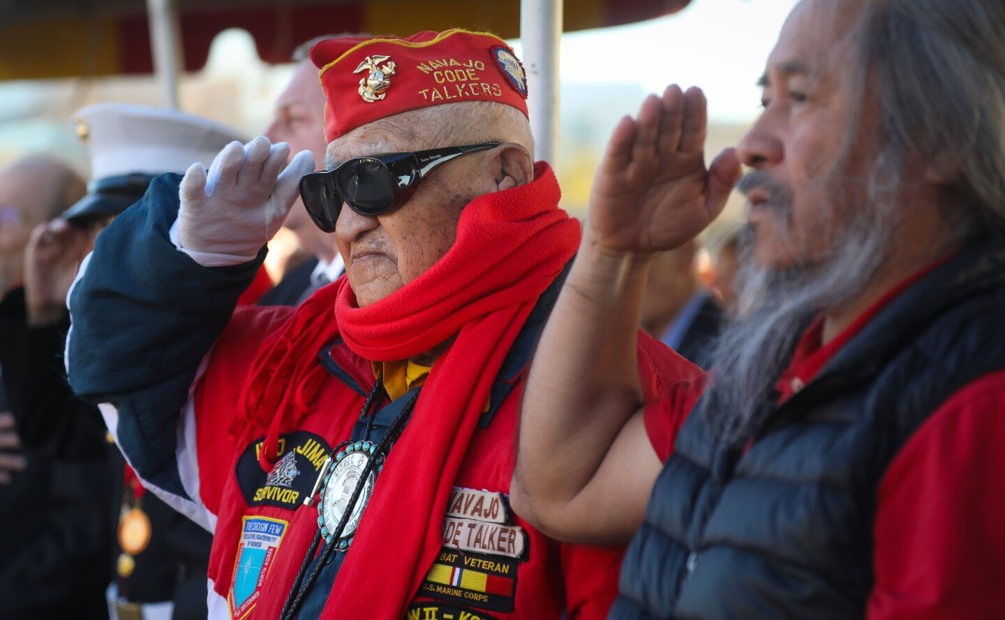 World War II Marine Corps veteran of the Battle of Iwo Jima, and one of the last Navajo code talkers, Thomas H. Begay, of Window Rock, Arizona, salutes during the national anthem, during commemoration ceremony for the 75th anniversary of the famous battle, held at Camp Pendleton, February 15, 2020. This is the last time the Iwo Jima Commemorative Committee is planning to hold a formal West Coast gathering of veterans of the battle.