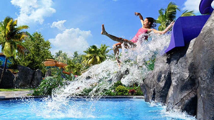 The Ohno body slide concludes with a splashdown finale.