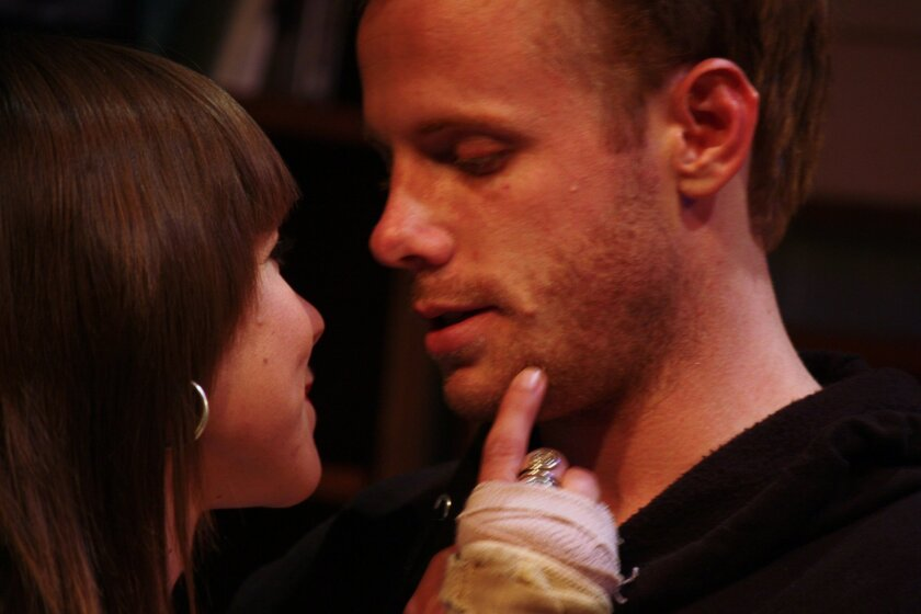 Stella (Rachael Van Wormer, left) shares a moment with Charlie (Tim Parker) in the dark comedy &#8220;Things We Want.&#8221; <em> Daren Scott </em>