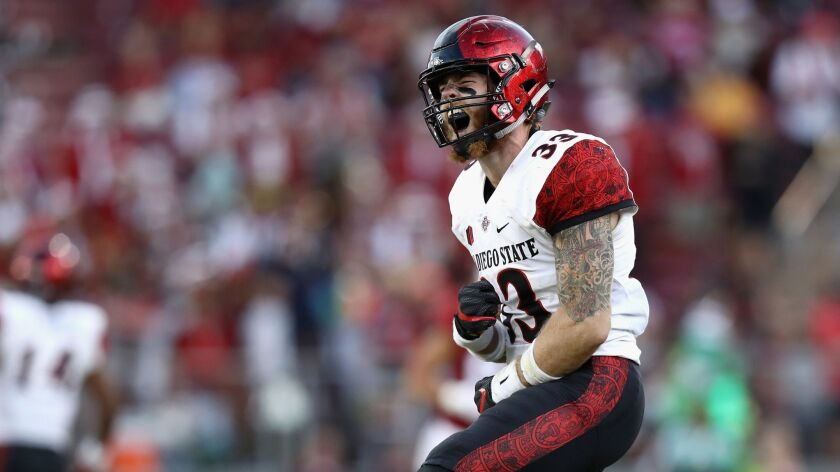 Parker Baldwin of San Diego State reacts after a sacked against Stanford.