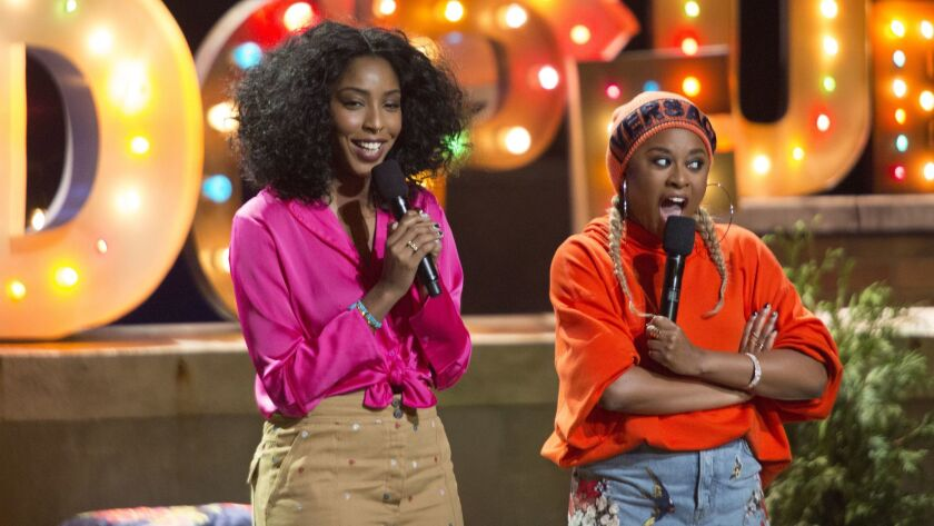 "(L-R) -Jessica Williams and Phoebe Robinson in a scene from ""2 Dope Queens."" Credit: Mindy Tucker/HB"