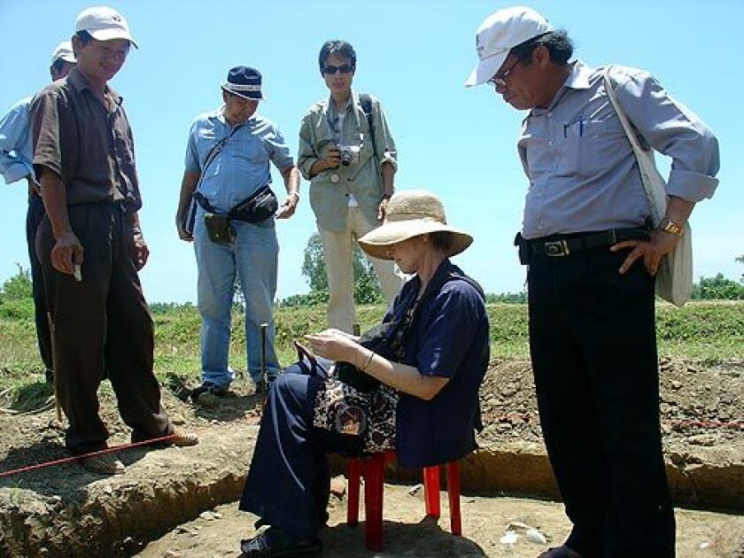 Roxanna Brown at an archaeological dig in Southeast Asia. In the mid-1990s, she moved to Los Angeles to revive her academic career and by 2004 had completed her PhD at UCLA. She was a leading authority on Southeast Asian ceramics and participated in digs across the region.