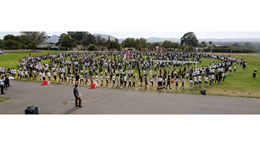 Muir Middle School students, teachers and community members attempted to set the Guinness World Reco