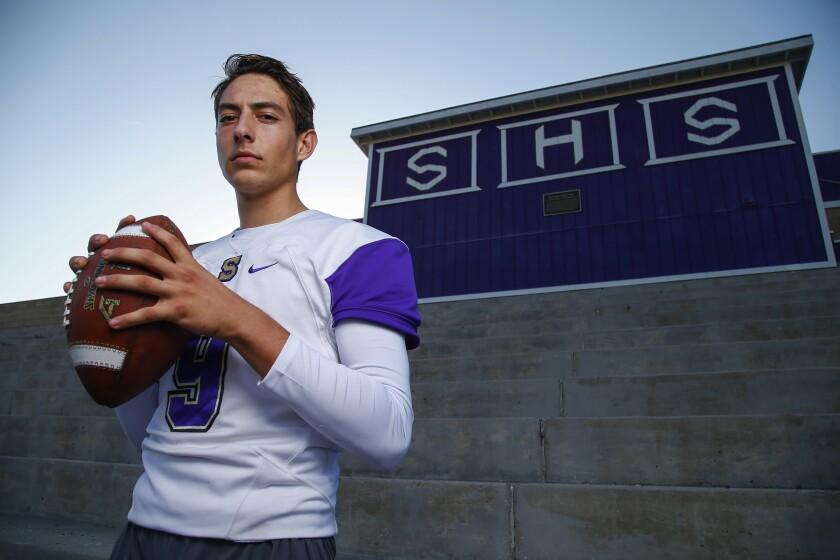 Santana High School football quarterback Nathan Temple poses for a portrait at practice on Thursday, November 8th, 2018.