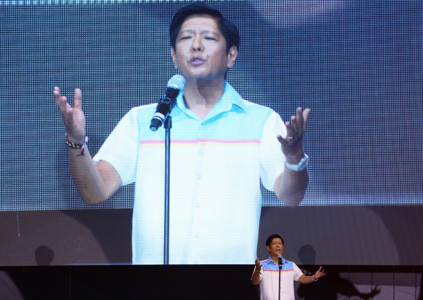 "In this May 5 photo, vice presidential candidate Sen. Ferdinand ""Bongbong"""